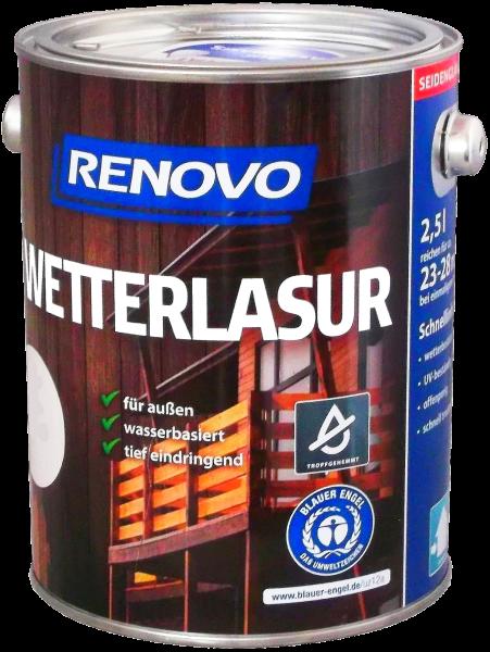 2,5L Renovo Wetterlasur wb. Nr.9510 kalkweiß
